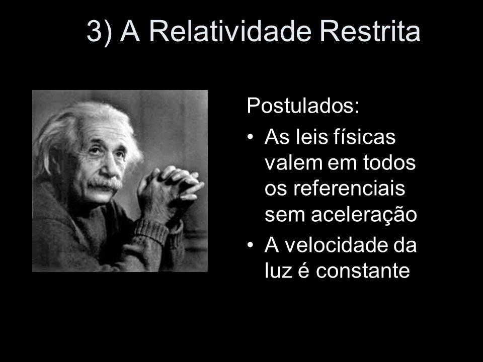 3) A Relatividade Restrita Postulados: As leis físicas valem em todos os referenciais sem aceleração A velocidade da luz é constante