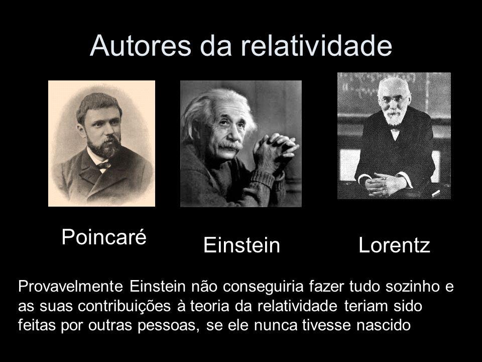 Autores da relatividade Poincaré EinsteinLorentz Provavelmente Einstein não conseguiria fazer tudo sozinho e as suas contribuições à teoria da relatividade teriam sido feitas por outras pessoas, se ele nunca tivesse nascido