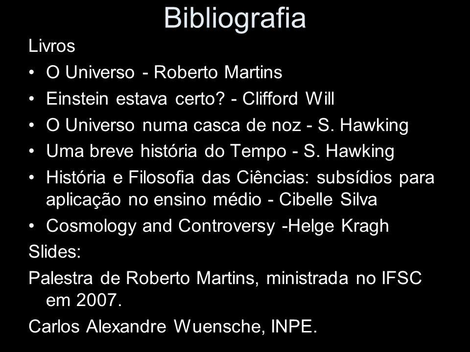 Bibliografia Livros O Universo - Roberto Martins Einstein estava certo? - Clifford Will O Universo numa casca de noz - S. Hawking Uma breve história d