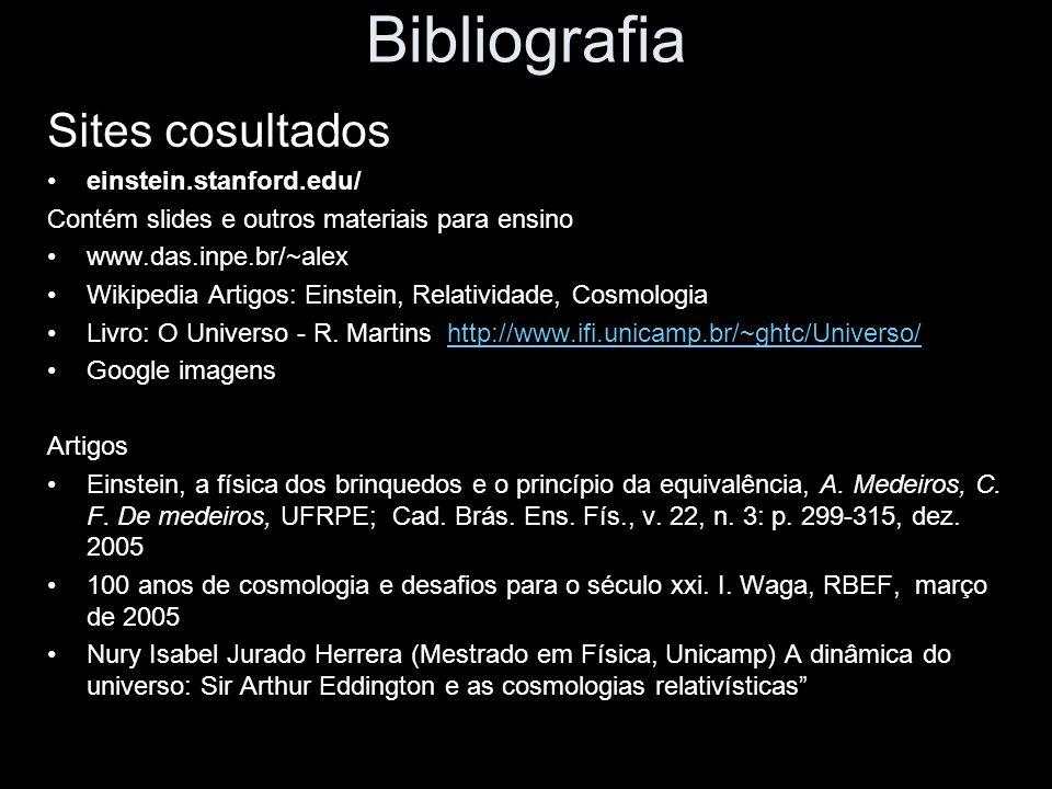 Bibliografia Sites cosultados einstein.stanford.edu/ Contém slides e outros materiais para ensino www.das.inpe.br/~alex Wikipedia Artigos: Einstein, Relatividade, Cosmologia Livro: O Universo - R.