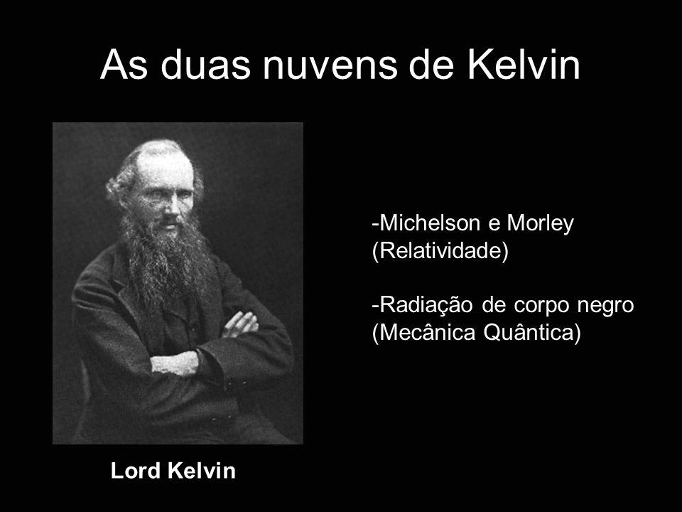 As duas nuvens de Kelvin Lord Kelvin -Michelson e Morley (Relatividade) -Radiação de corpo negro (Mecânica Quântica)