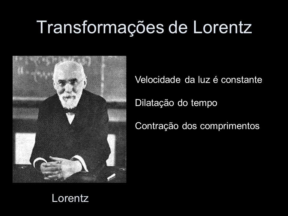 Transformações de Lorentz Velocidade da luz é constante Dilatação do tempo Contração dos comprimentos Lorentz