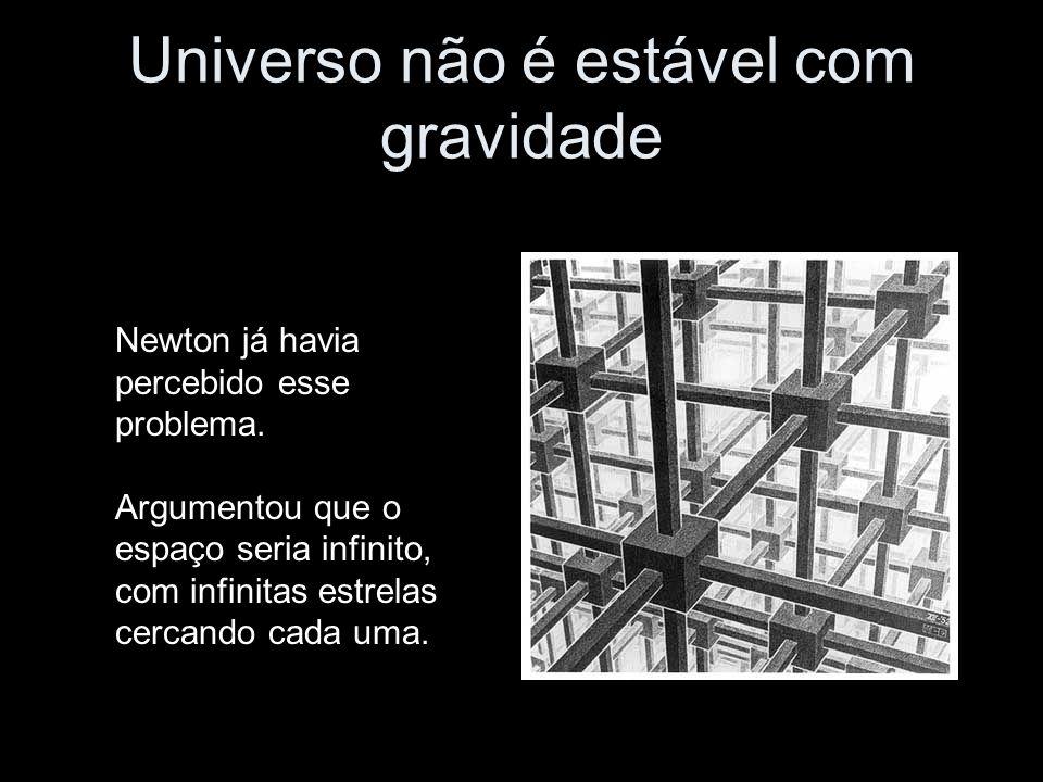 Universo não é estável com gravidade Newton já havia percebido esse problema. Argumentou que o espaço seria infinito, com infinitas estrelas cercando