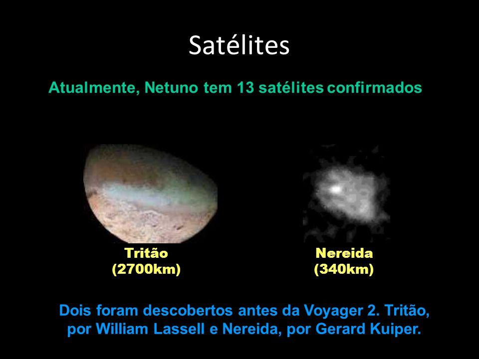 Satélites Atualmente, Netuno tem 13 satélites confirmados Tritão (2700km) Nereida (340km) Dois foram descobertos antes da Voyager 2.