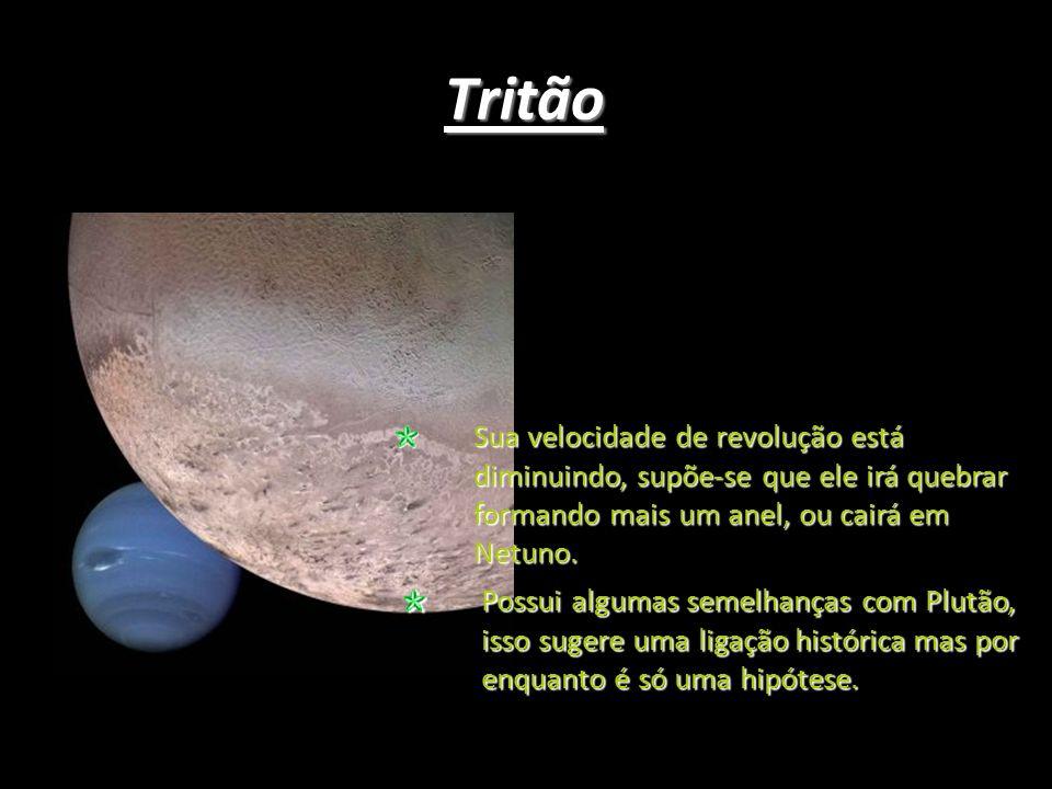 Tritão Sua velocidade de revolução está diminuindo, supõe-se que ele irá quebrar formando mais um anel, ou cairá em Netuno.