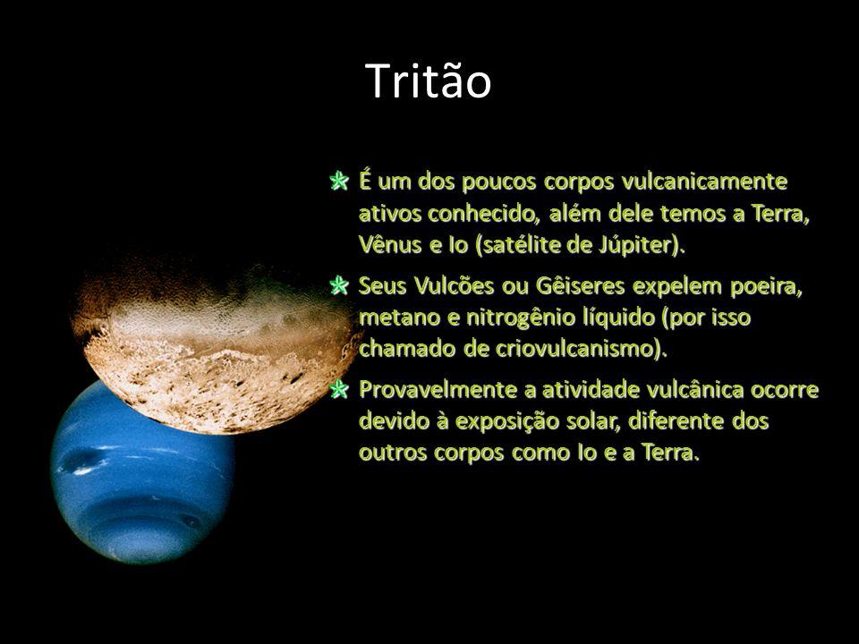 Tritão É um dos poucos corpos vulcanicamente ativos conhecido, além dele temos a Terra, Vênus e Io (satélite de Júpiter).