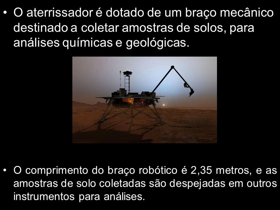 O aterrissador é dotado de um braço mecânico destinado a coletar amostras de solos, para análises químicas e geológicas. O comprimento do braço robóti