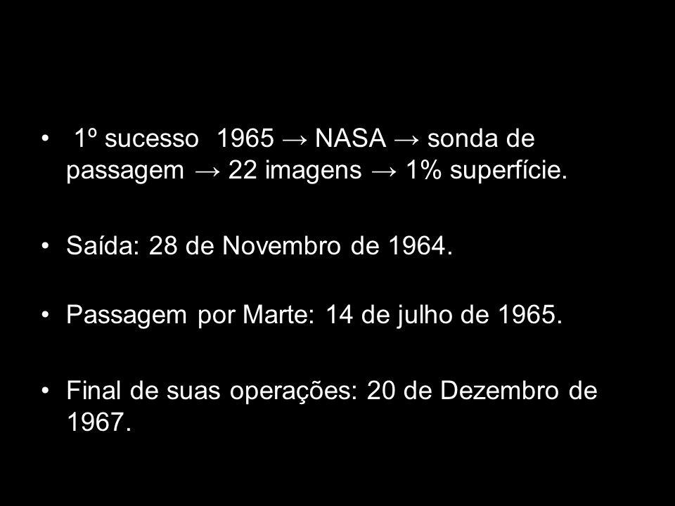 1º sucesso 1965 NASA sonda de passagem 22 imagens 1% superfície. Saída: 28 de Novembro de 1964. Passagem por Marte: 14 de julho de 1965. Final de suas