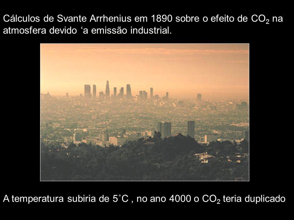 Cálculos de Svante Arrhenius em 1890 sobre o efeito de CO 2 na atmosfera devido a emissão industrial. A temperatura subiria de 5˚C, no ano 4000 o CO 2