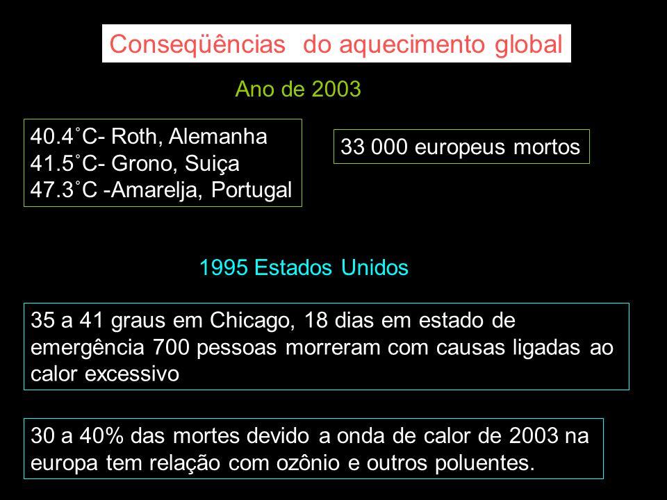 Ano de 2003 40.4˚C- Roth, Alemanha 41.5˚C- Grono, Suiça 47.3˚C -Amarelja, Portugal 1995 Estados Unidos 35 a 41 graus em Chicago, 18 dias em estado de