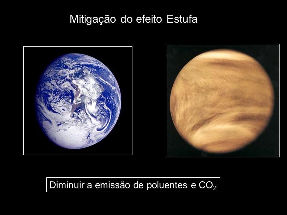 Mitigação do efeito Estufa Diminuir a emissão de poluentes e CO 2