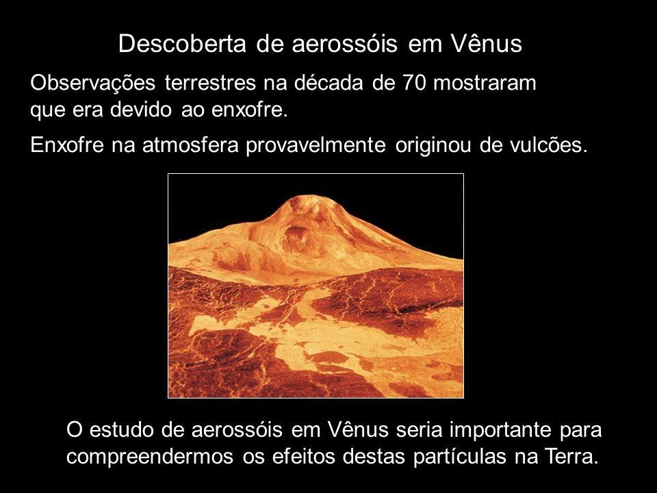 Descoberta de aerossóis em Vênus Observações terrestres na década de 70 mostraram que era devido ao enxofre. O estudo de aerossóis em Vênus seria impo