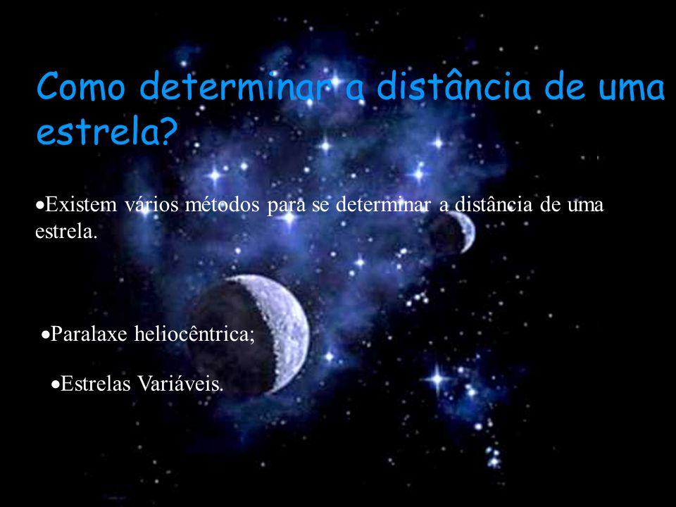 Como determinar a distância de uma estrela? Existem vários métodos para se determinar a distância de uma estrela. Paralaxe heliocêntrica; Estrelas Var