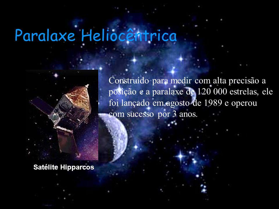 Satélite Hipparcos Construído para medir com alta precisão a posição e a paralaxe de 120 000 estrelas, ele foi lançado em agosto de 1989 e operou com