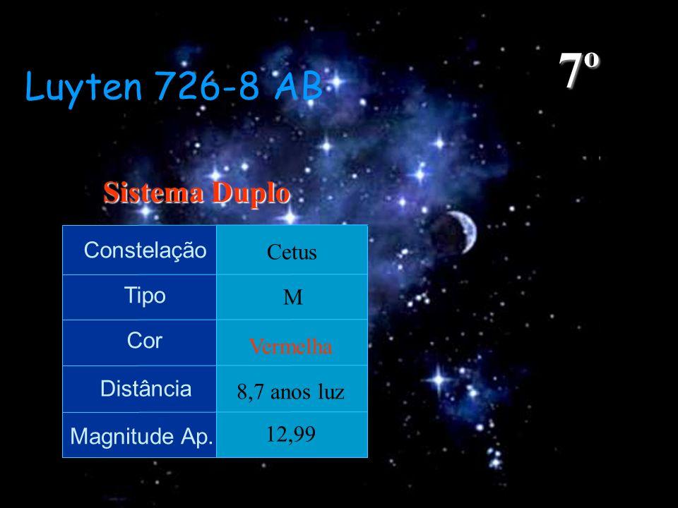 Luyten 726-8 AB Constelação Tipo Cor Distância Magnitude Ap. Cetus M Vermelha 8,7 anos luz 12,99 7º Sistema Duplo