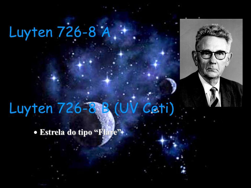 Luyten 726-8 A Luyten 726-8 B (UV Ceti) Estrela do tipo Flare Estrela do tipo Flare