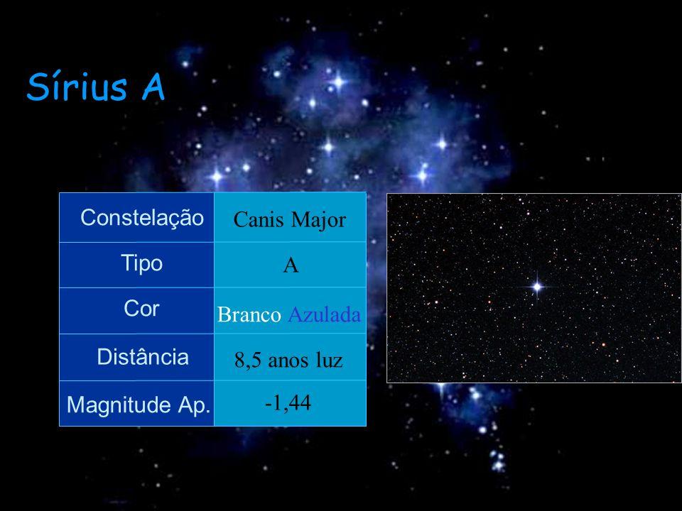 Sírius A Constelação Tipo Cor Distância Magnitude Ap. Canis Major A Branco Azulada 8,5 anos luz -1,44