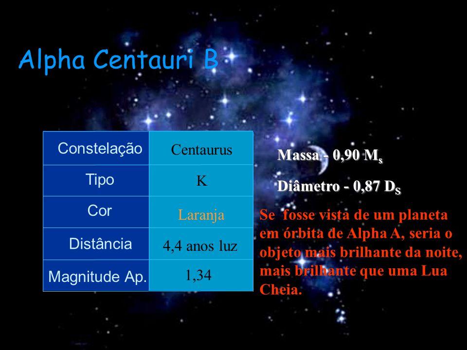 Alpha Centauri B Constelação Tipo Cor Distância Magnitude Ap. Centaurus K Laranja 4,4 anos luz 1,34 Massa - 0,90 M s Diâmetro - 0,87 D S Se fosse vist