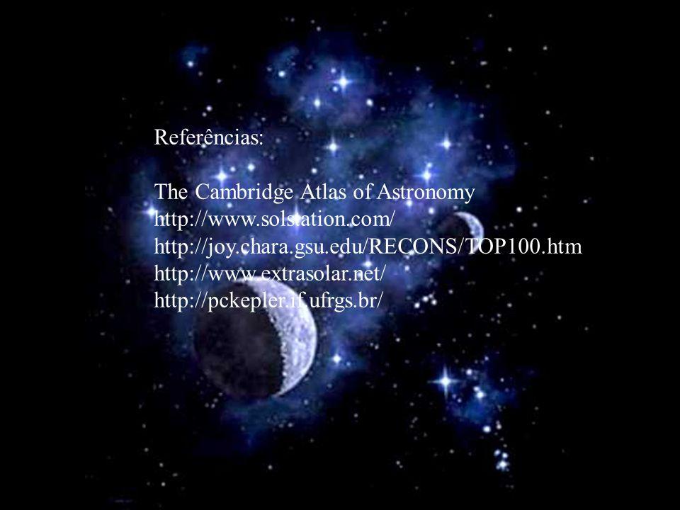 Referências: The Cambridge Atlas of Astronomy http://www.solstation.com/ http://joy.chara.gsu.edu/RECONS/TOP100.htm http://www.extrasolar.net/ http://