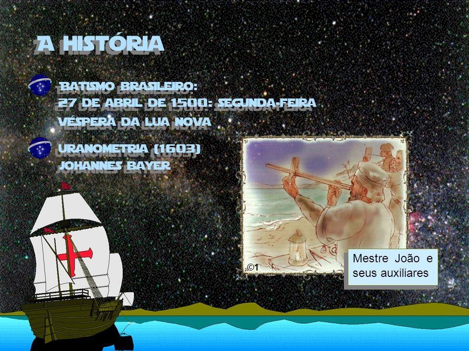 A história Batismo brasileiro: 27 de abril de 1500: segunda-feira véspera da lua nova Mestre João e seus auxiliares ©1 uranometria (1603) johannes bayer