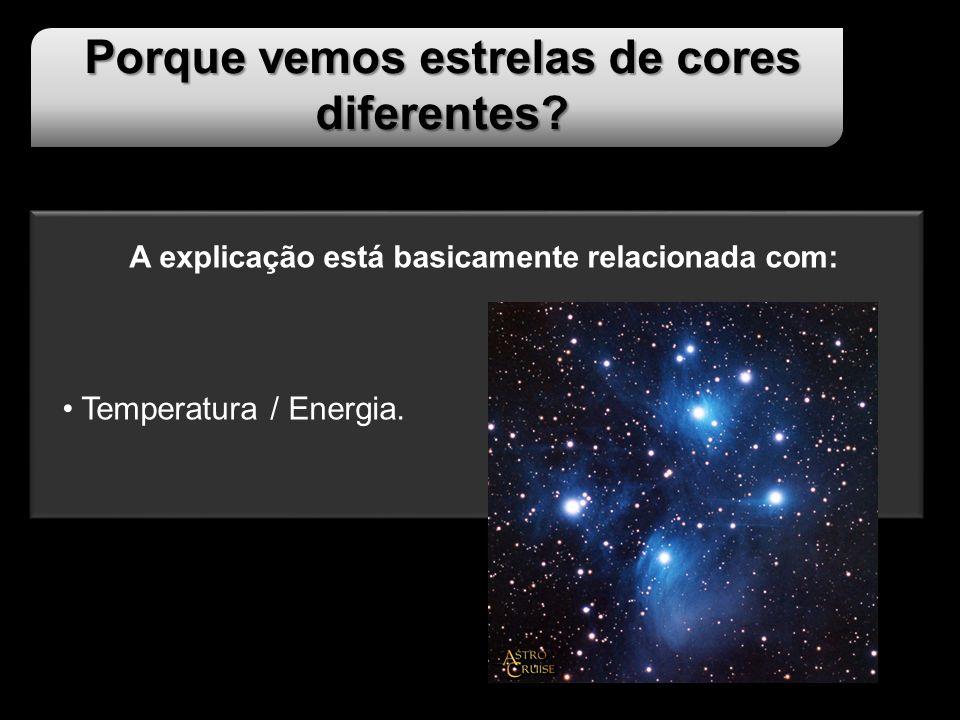 Porque vemos estrelas de cores diferentes? A explicação está basicamente relacionada com: Temperatura / Energia.