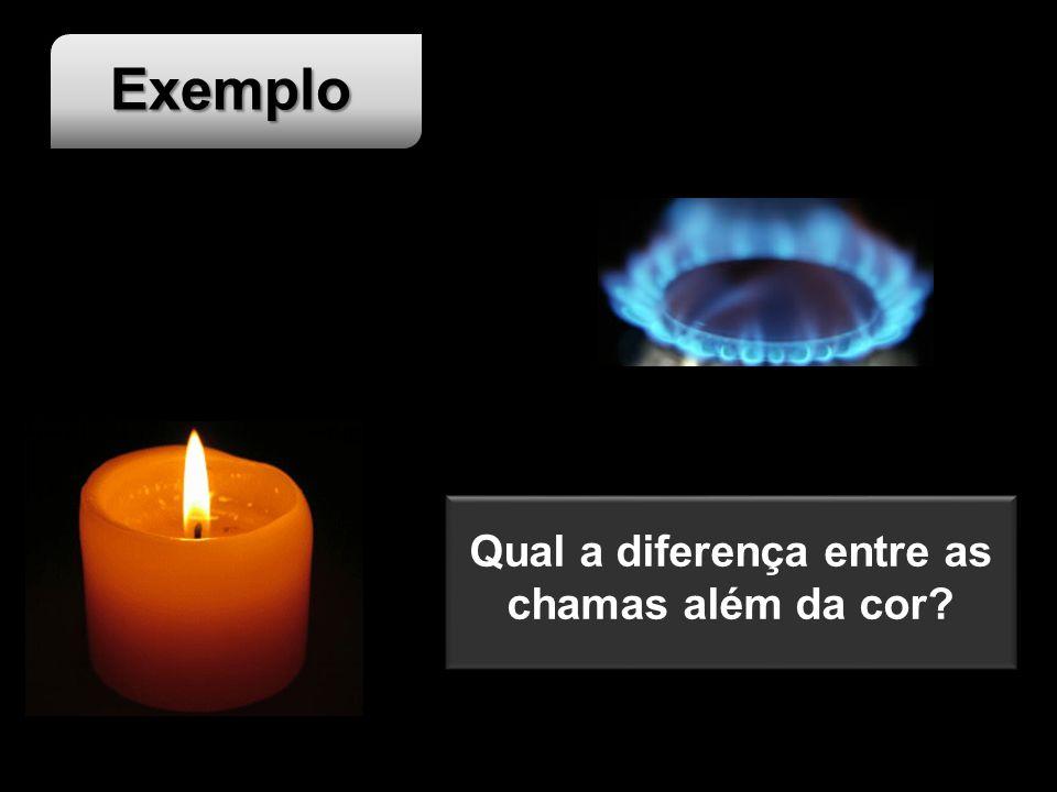 Exemplo Qual a diferença entre as chamas além da cor?