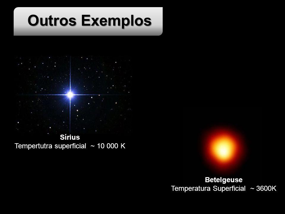 Outros Exemplos Betelgeuse Temperatura Superficial ~ 3600K Sírius Tempertutra superficial ~ 10 000 K