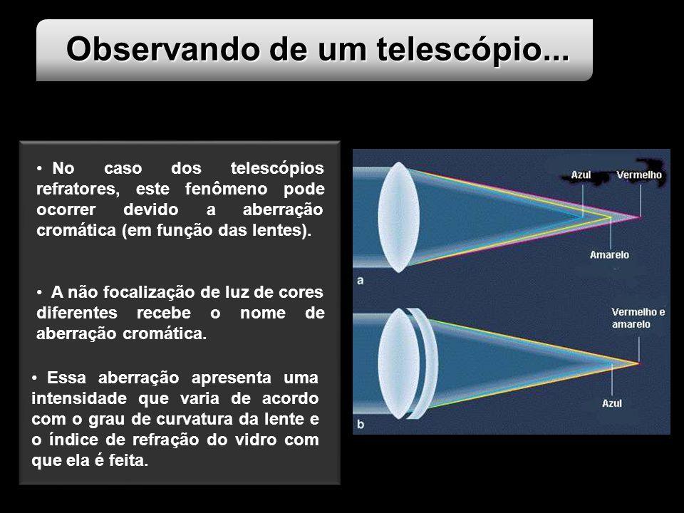 Observando de um telescópio... No caso dos telescópios refratores, este fenômeno pode ocorrer devido a aberração cromática (em função das lentes). A n