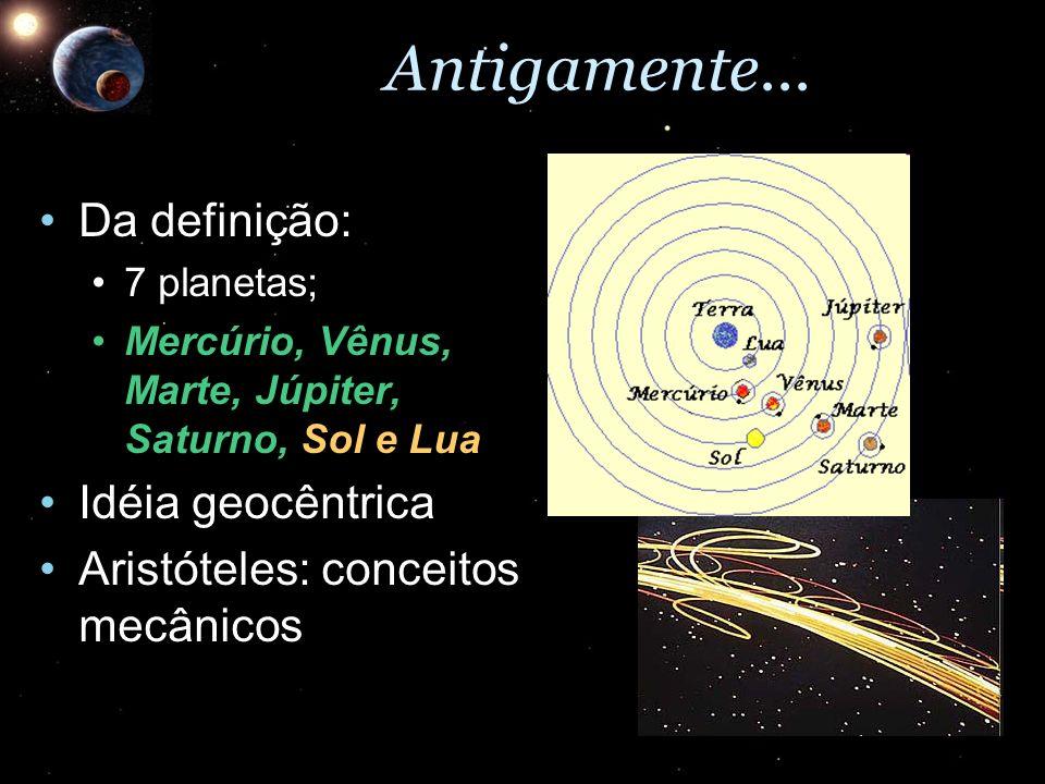Antigamente... Da definição:Da definição: 7 planetas;7 planetas; Mercúrio, Vênus, Marte, Júpiter, Saturno, Sol e LuaMercúrio, Vênus, Marte, Júpiter, S