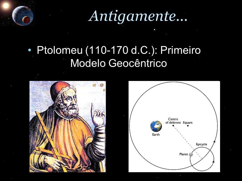 Antigamente... Ptolomeu (110-170 d.C.): Primeiro Modelo GeocêntricoPtolomeu (110-170 d.C.): Primeiro Modelo Geocêntrico