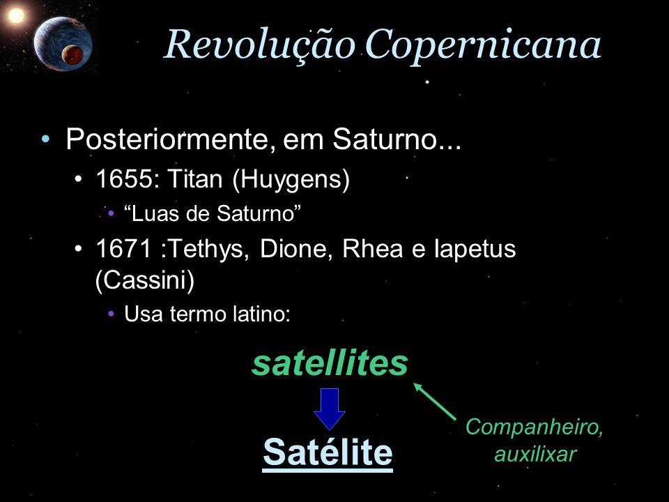 Revolução Copernicana Posteriormente, em Saturno...Posteriormente, em Saturno... 1655: Titan (Huygens)1655: Titan (Huygens) Luas de SaturnoLuas de Sat