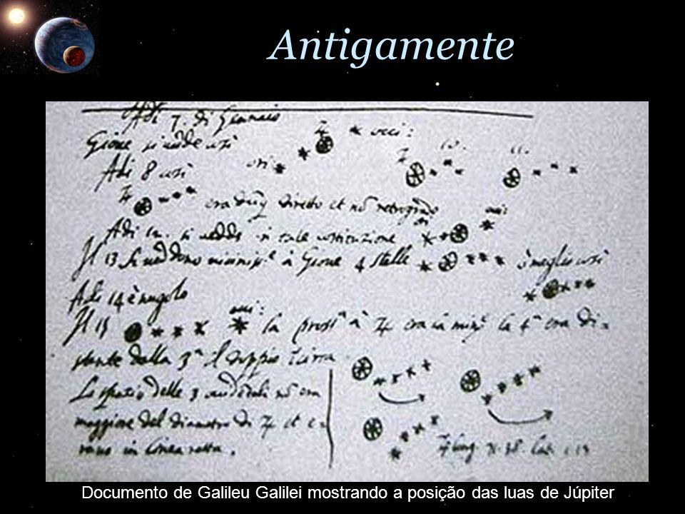 Antigamente Documento de Galileu Galilei mostrando a posição das luas de Júpiter
