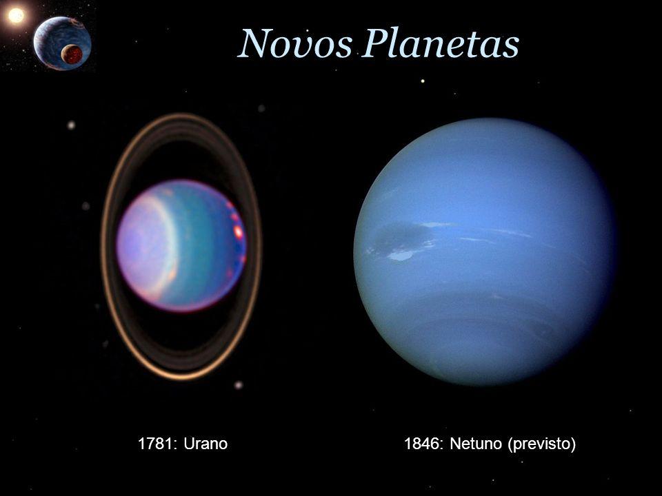 Novos Planetas 1781: Urano 1846: Netuno (previsto)