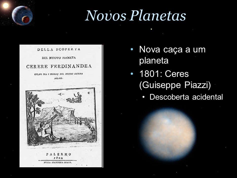 Novos Planetas Nova caça a um planetaNova caça a um planeta 1801: Ceres (Guiseppe Piazzi)1801: Ceres (Guiseppe Piazzi) Descoberta acidentalDescoberta