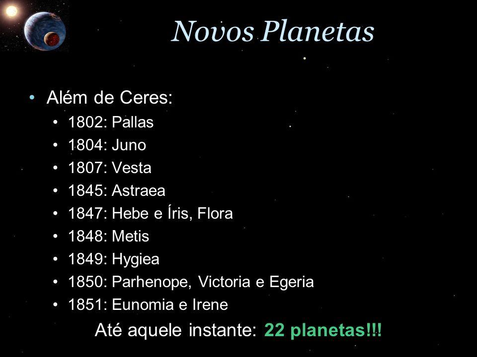 Novos Planetas Além de Ceres:Além de Ceres: 1802: Pallas1802: Pallas 1804: Juno1804: Juno 1807: Vesta1807: Vesta 1845: Astraea1845: Astraea 1847: Hebe