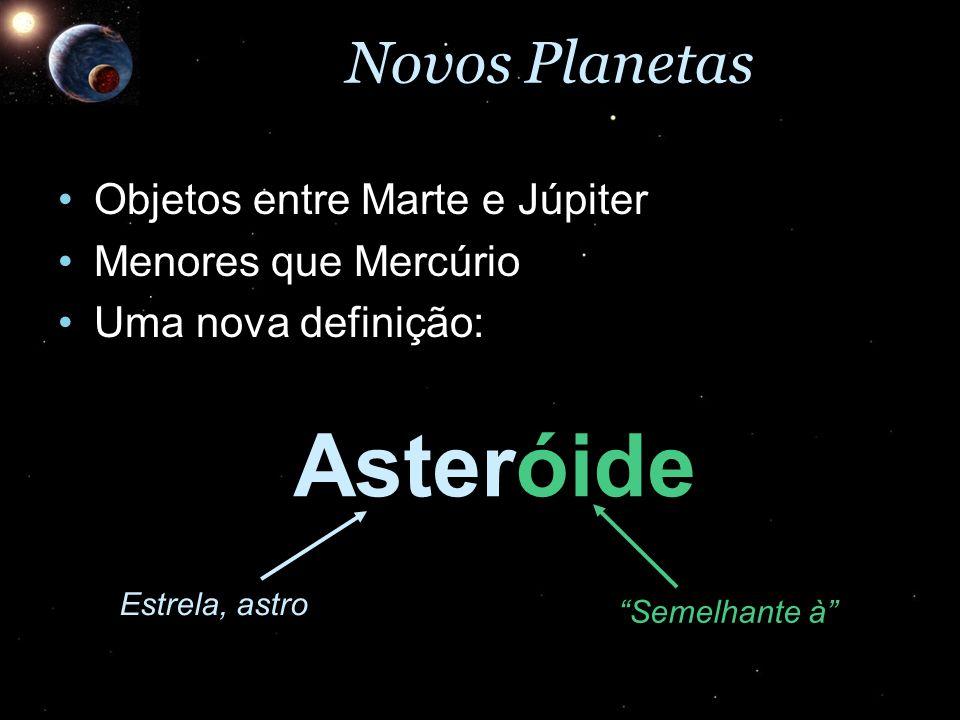 Novos Planetas Objetos entre Marte e JúpiterObjetos entre Marte e Júpiter Menores que MercúrioMenores que Mercúrio Uma nova definição:Uma nova definiç