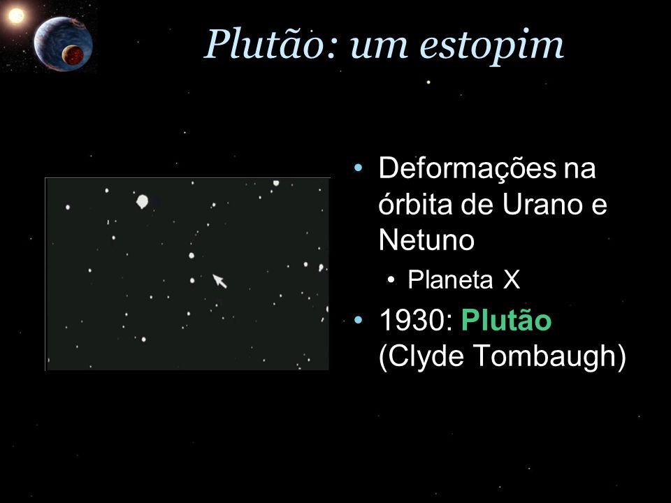 Plutão: um estopim Deformações na órbita de Urano e NetunoDeformações na órbita de Urano e Netuno Planeta XPlaneta X 1930: Plutão (Clyde Tombaugh)1930