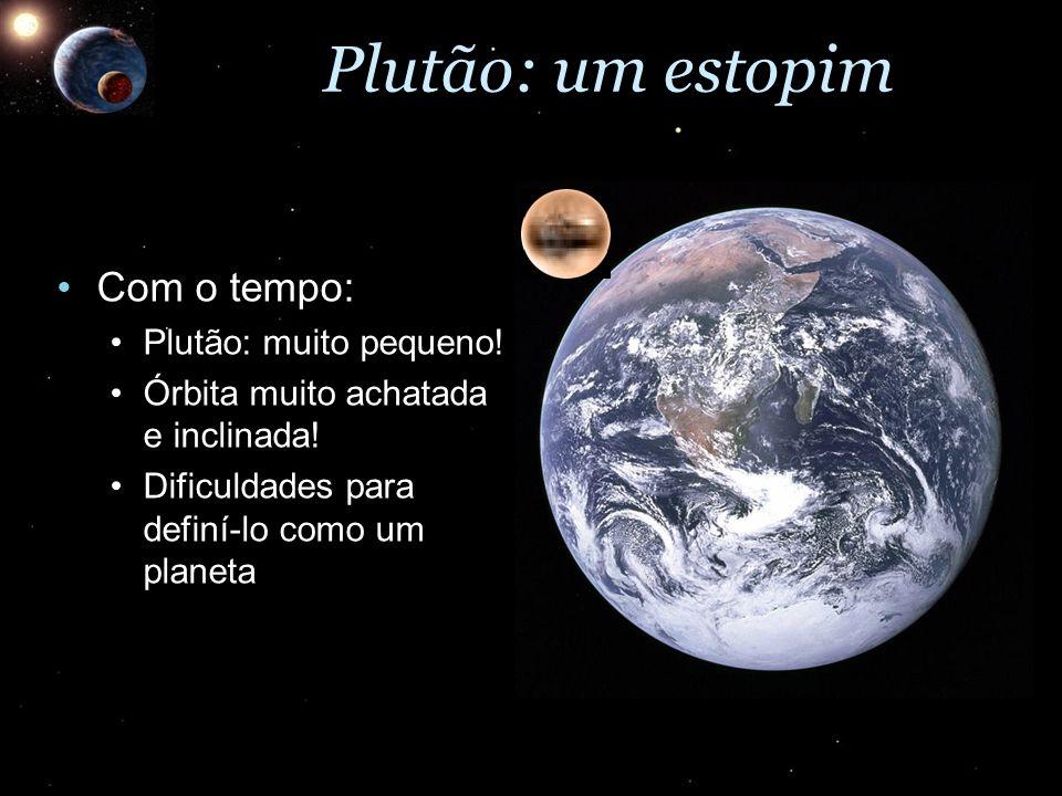 Plutão: um estopim Com o tempo:Com o tempo: Plutão: muito pequeno!Plutão: muito pequeno! Órbita muito achatada e inclinada!Órbita muito achatada e inc