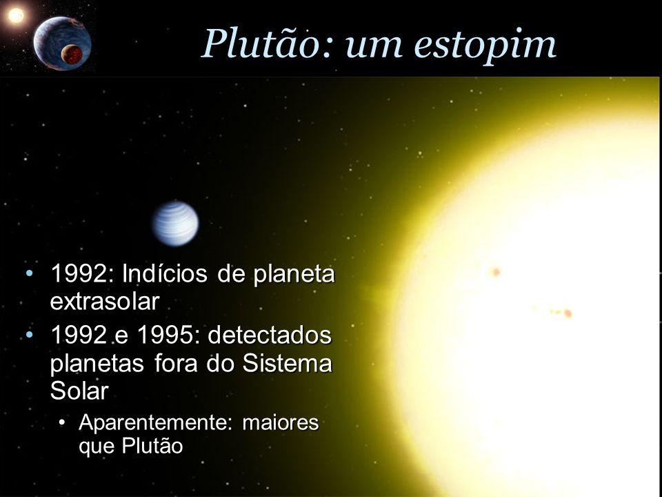 Plutão: um estopim 1992: Indícios de planeta extrasolar1992: Indícios de planeta extrasolar 1992 e 1995: detectados planetas fora do Sistema Solar1992