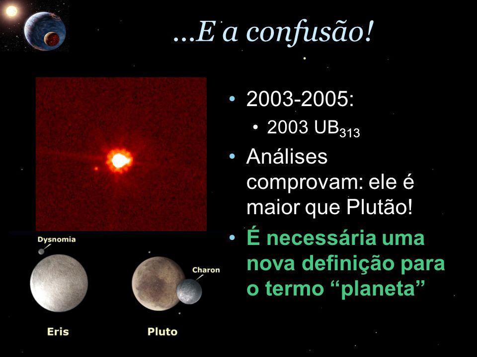 ...E a confusão! 2003-2005:2003-2005: 2003 UB 3132003 UB 313 Análises comprovam: ele é maior que Plutão!Análises comprovam: ele é maior que Plutão! É