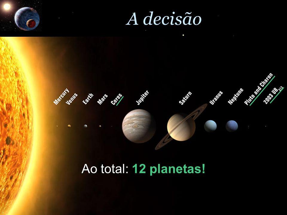 A decisão Ao total: 12 planetas!