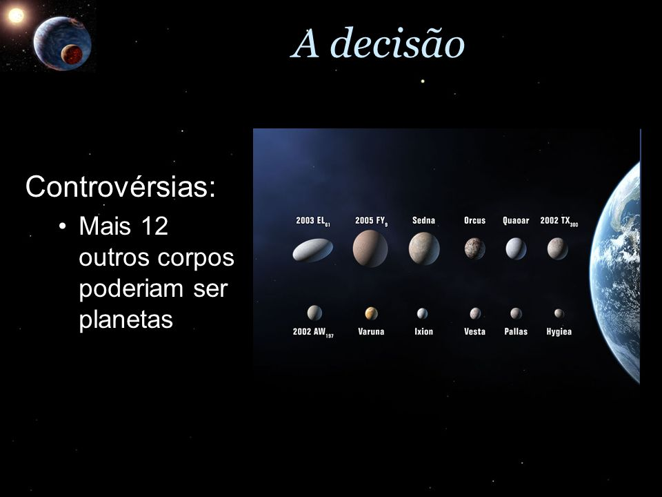 A decisão Controvérsias: Mais 12 outros corpos poderiam ser planetasMais 12 outros corpos poderiam ser planetas
