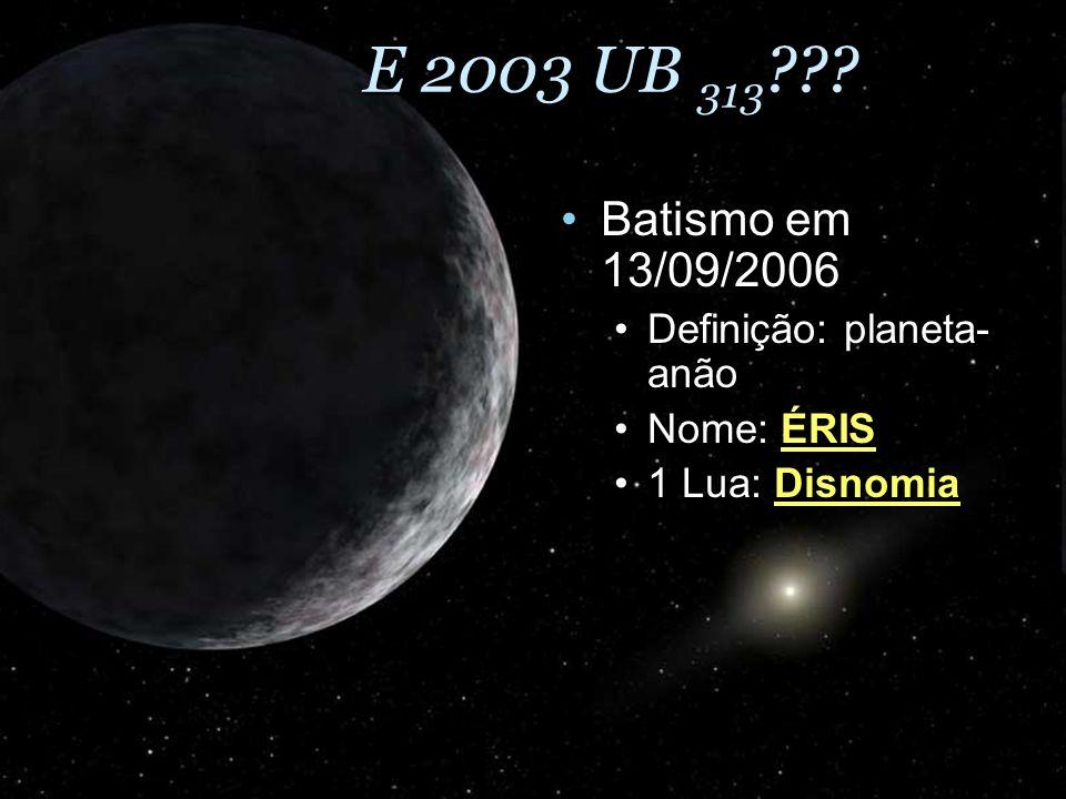 E 2003 UB 313 ??? Batismo em 13/09/2006Batismo em 13/09/2006 Definição: planeta- anãoDefinição: planeta- anão Nome: ÉRISNome: ÉRIS 1 Lua: Disnomia1 Lu