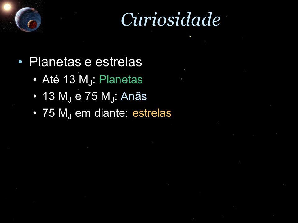 Curiosidade Planetas e estrelasPlanetas e estrelas Até 13 M J : PlanetasAté 13 M J : Planetas 13 M J e 75 M J : Anãs13 M J e 75 M J : Anãs 75 M J em d