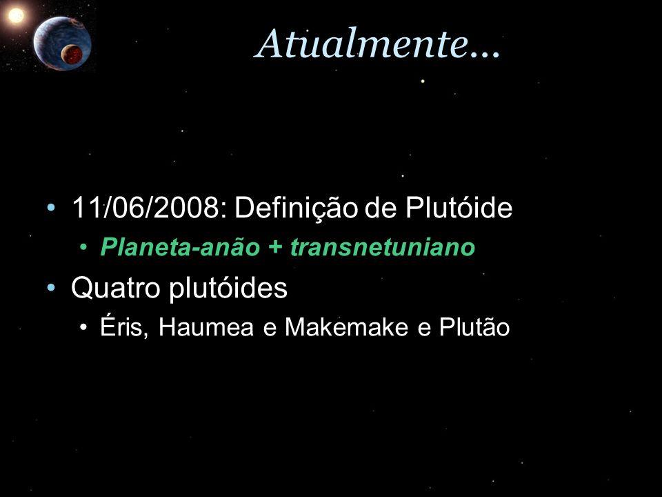 Atualmente... 11/06/2008: Definição de Plutóide11/06/2008: Definição de Plutóide Planeta-anão + transnetunianoPlaneta-anão + transnetuniano Quatro plu