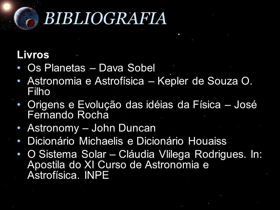 BIBLIOGRAFIALivros Os Planetas – Dava SobelOs Planetas – Dava Sobel Astronomia e Astrofísica – Kepler de Souza O. FilhoAstronomia e Astrofísica – Kepl
