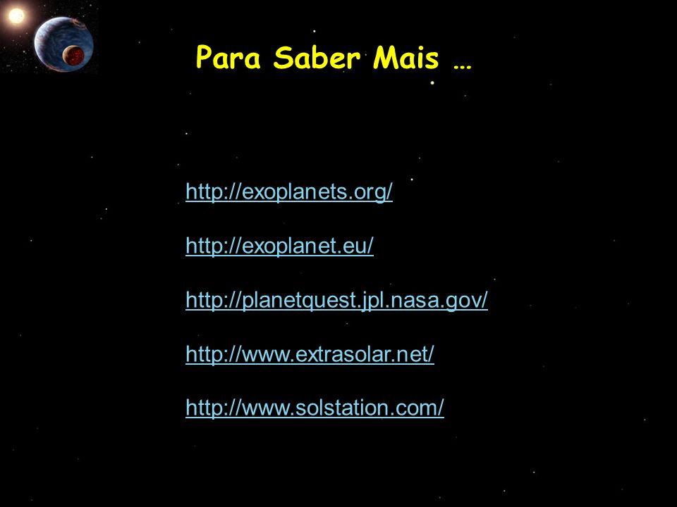 http://exoplanets.org/ http://exoplanet.eu/ http://planetquest.jpl.nasa.gov/ http://www.extrasolar.net/ http://www.solstation.com/ Para Saber Mais …