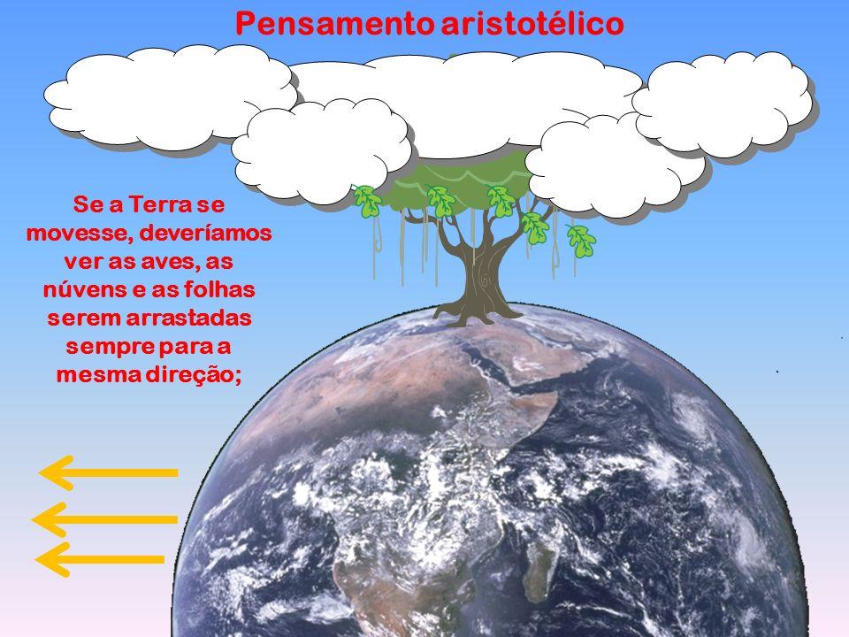 Pensamento aristotélico Se a Terra se movesse, deveríamos ver as aves, as núvens e as folhas serem arrastadas sempre para a mesma direção;