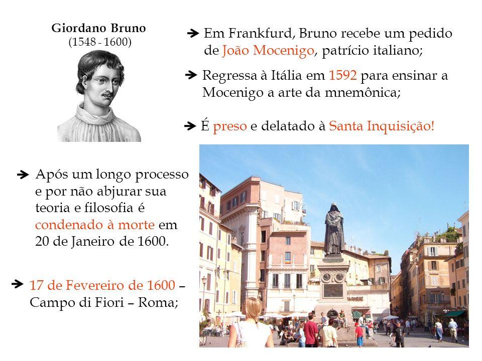 Giordano Bruno (1548 - 1600) Em Frankfurd, Bruno recebe um pedido de João Mocenigo, patrício italiano; Regressa à Itália em 1592 para ensinar a Moceni