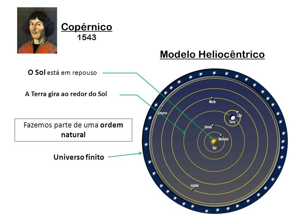 Copérnico 1543 Modelo Heliocêntrico O Sol está em repouso A Terra gira ao redor do Sol Fazemos parte de uma ordem natural Universo finito